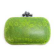 Bottega Veneta Lime Green Lizard Skin Leather Clutch
