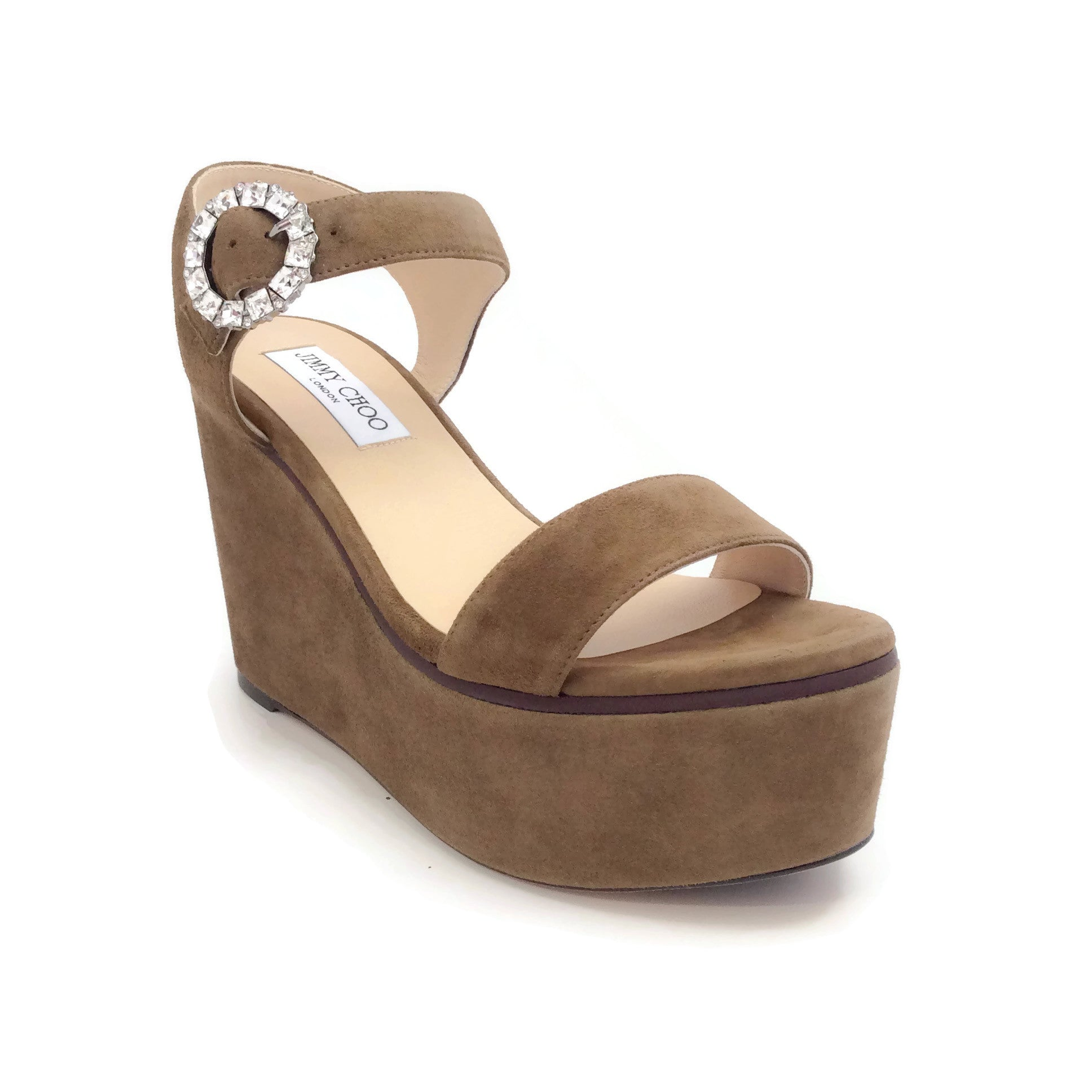 Jimmy Choo Olive Nylah Suede Wedge Sandals