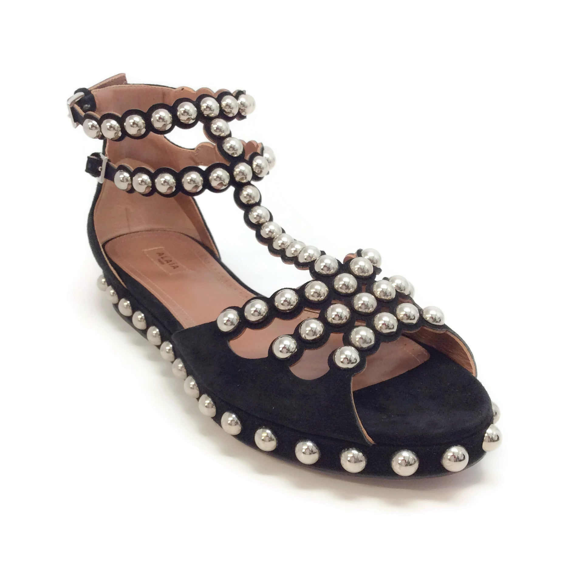 ALAÏA Black Suede Studded T-strap Sandals