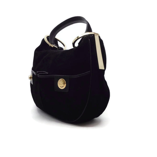 Tod's Leather Trim Black Suede Shoulder Bag