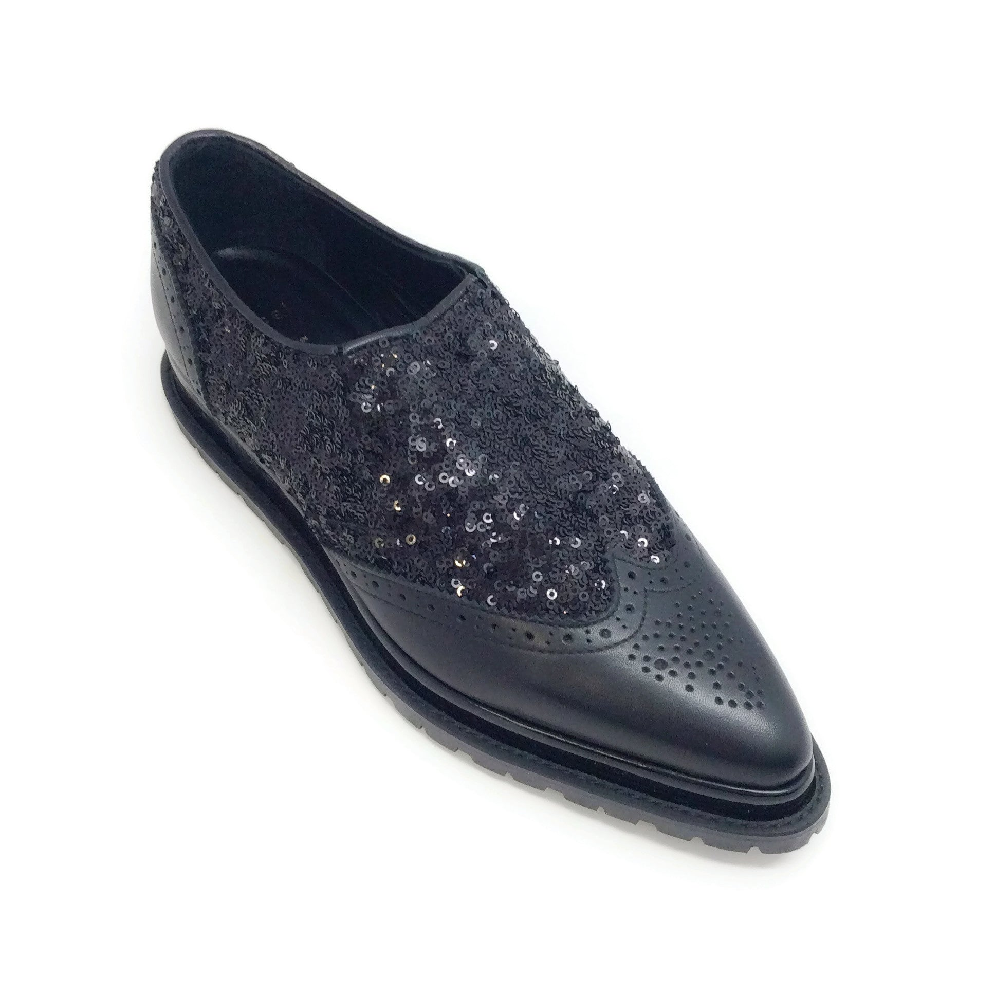 sacai Black Sequin Oxfords