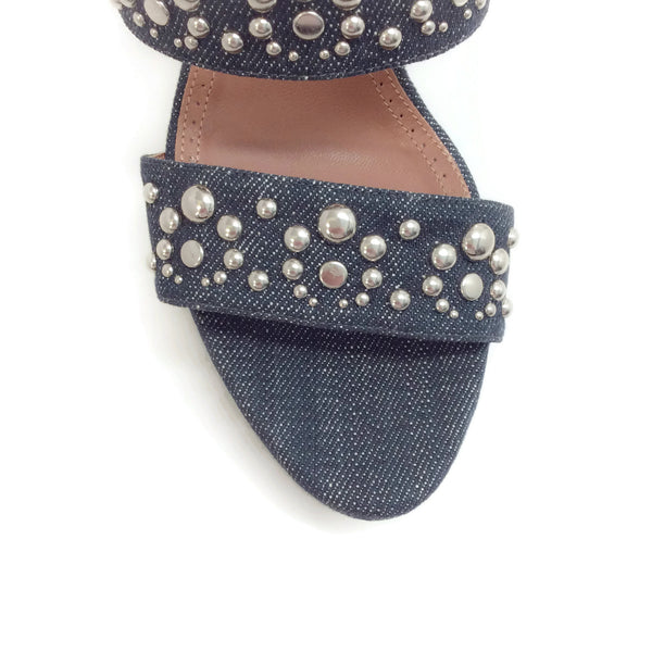ALAÏA Denim Studded Wedge Sandals
