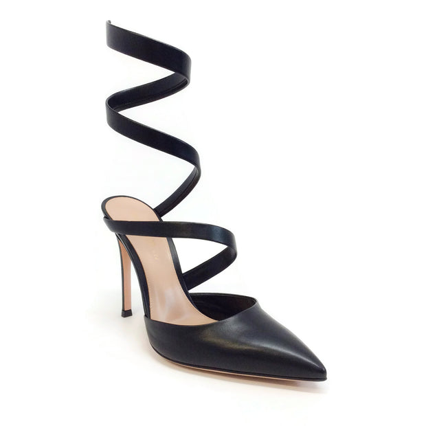 Gianvito Rossi Black Opera Wrap Up Pumps