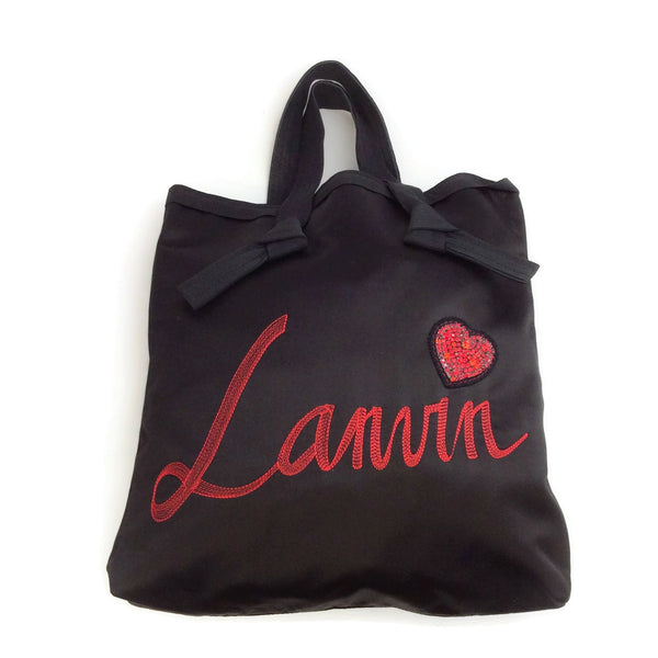 Lanvin Logo with Heart Black Satin Tote
