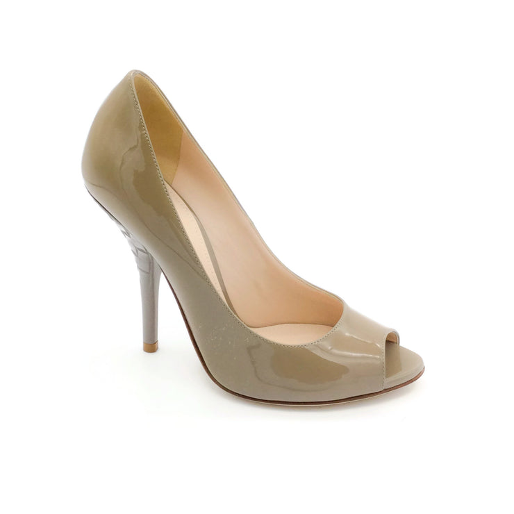 Bottega Veneta Taupe Patent Leather Peep Toe Pumps