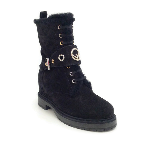 Fendi Black Suede Lace Up Logo Boots