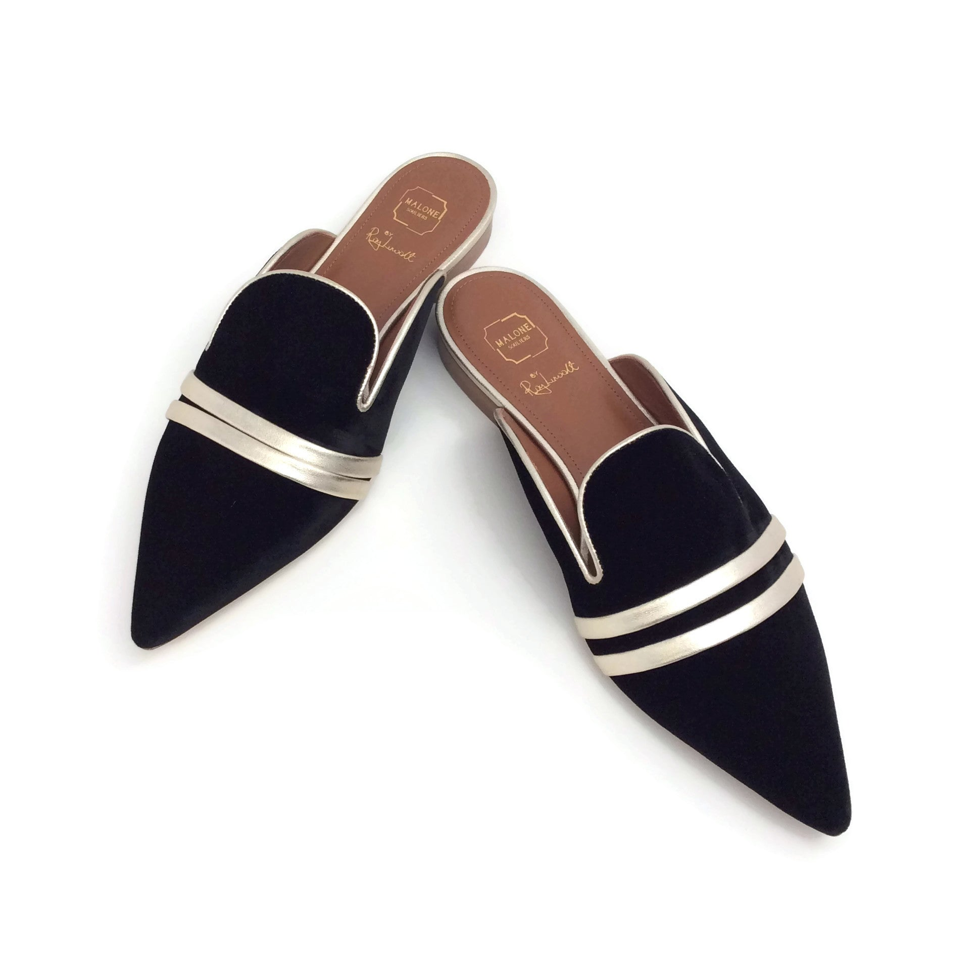 Malone Souliers Black Velvet Hermione Mules