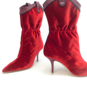 Malone Souliers Red Velvet Daisy Boots