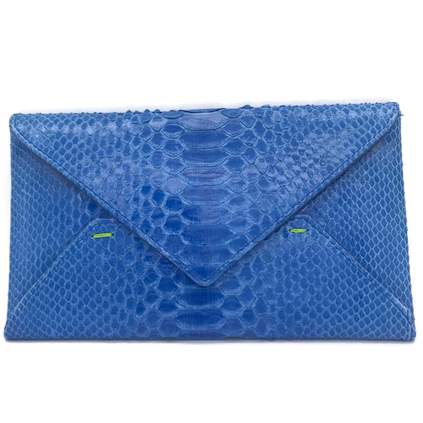 Robyn Brooks Envelope Cobalt Snakeskin Leather Clutch