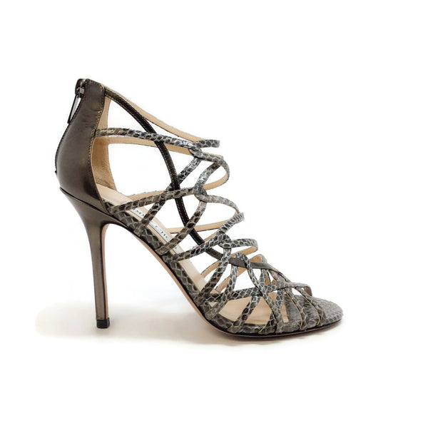Jimmy Choo Bronze Metallic Snake Strappy Sandals