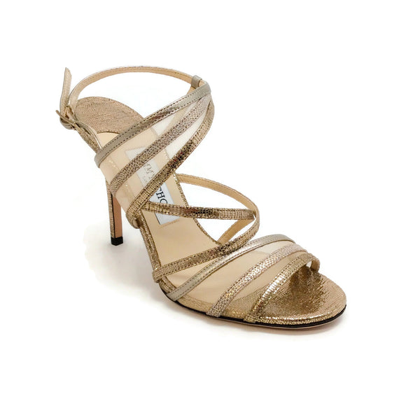 Jimmy Choo Gold Metallic and Mesh Sandals