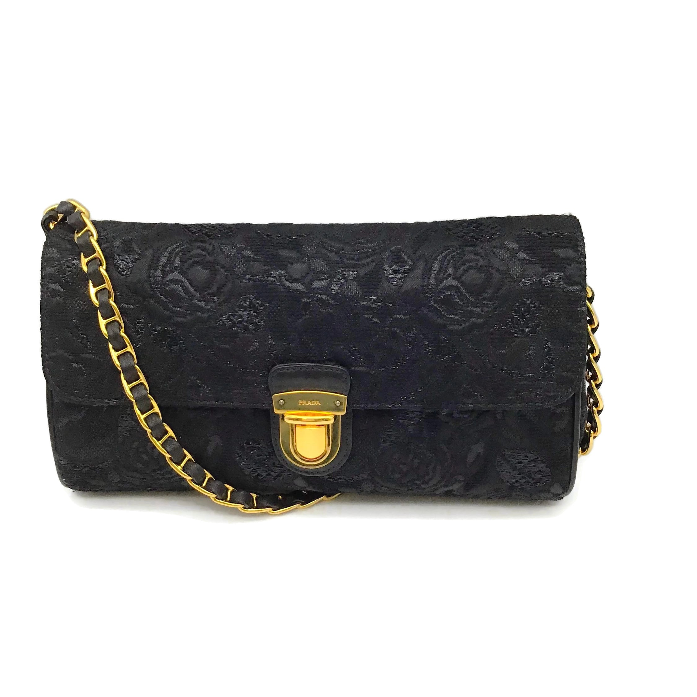 Prada Floral Black Brocade Shoulder Bag