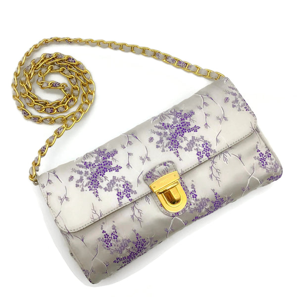 Prada Lilac Brocade Shoulder Bag