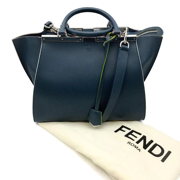 Fendi 3Jours Navy Leather Satchel
