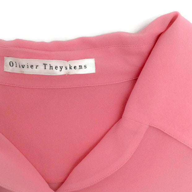 Olivier Theyskens Pink Silk Tie Neck Blouse
