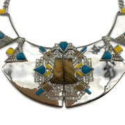 Alexis Bittar Silver Turquoise and Wood Detail Necklace