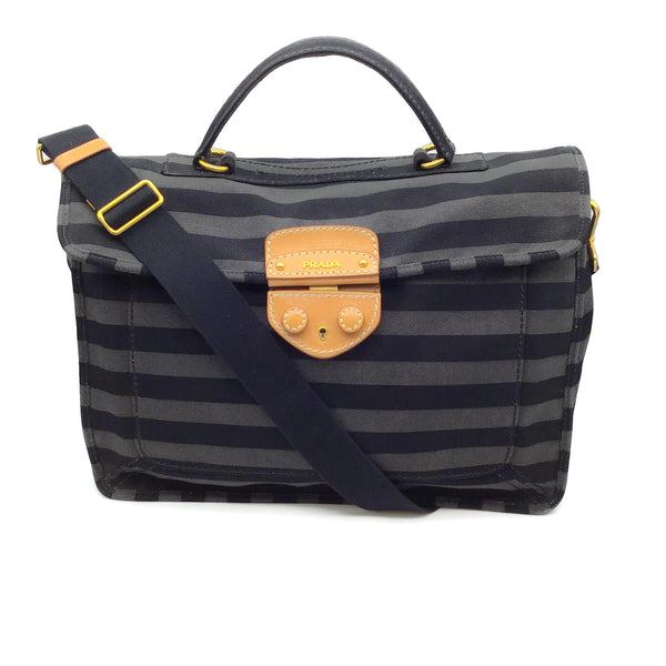 Prada Pattina Canapa Black / Gray Shoulder Bag