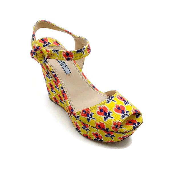 Prada Yellow / Multi Floral Canvas Wedges