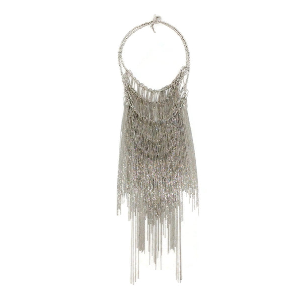 Fabiana Filippi Grey Metal Multi Layer Waterfall Necklace
