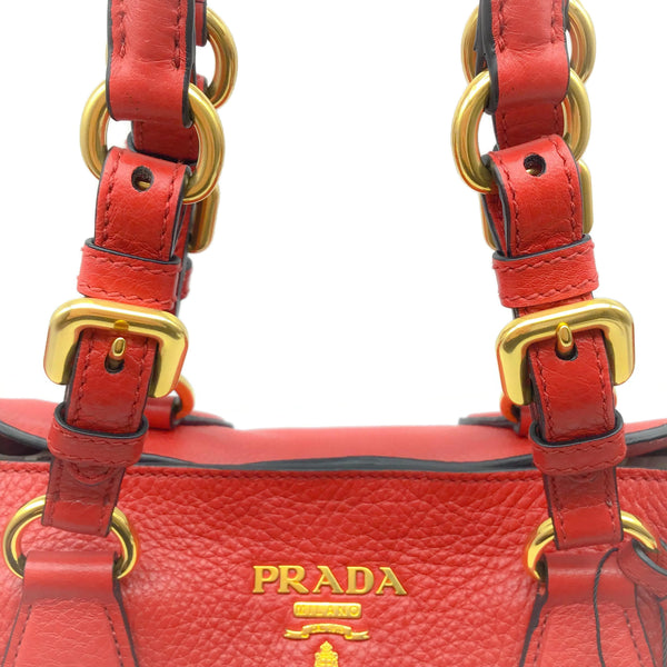Prada Phenix Red Vitello Leather Tote