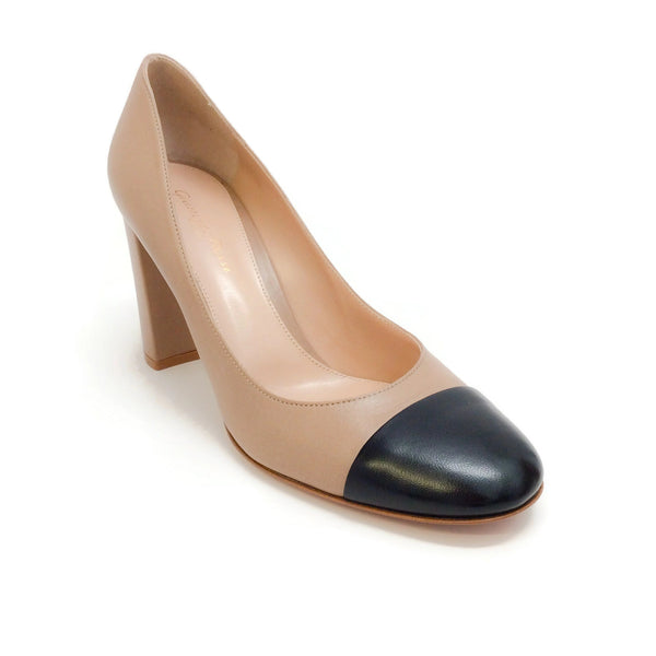 Gianvito Rossi Beige / Black Cap Toe Pumps