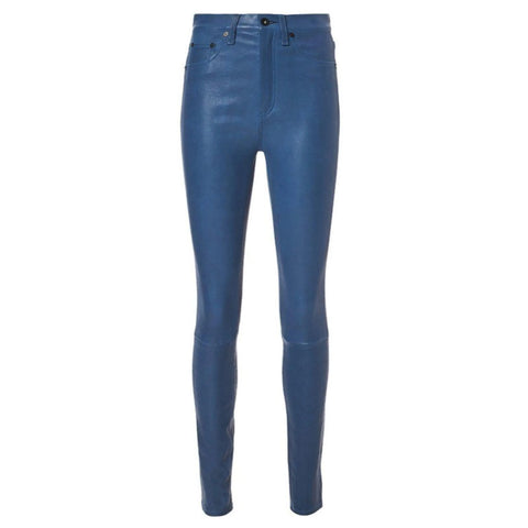 Rag & Bone Royal Blue Leather Jeggings