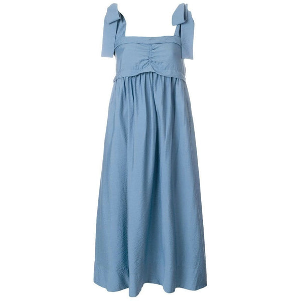 See by Chloé Paloma Blue Bow-shoulder Dress