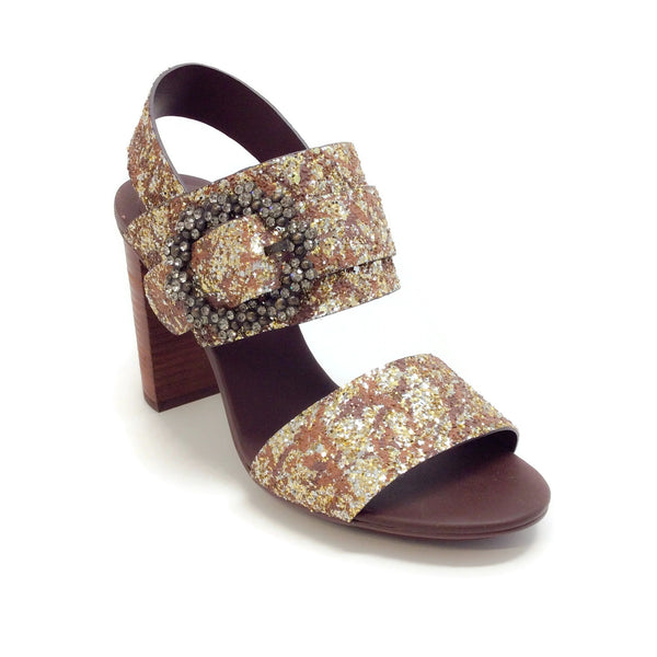 See by Chloé Bronze Glitter Crystal Buckle Sandals