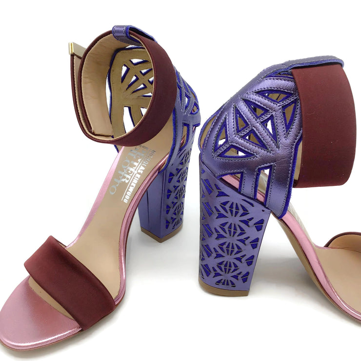 Peter Pilotto Maroon / Blue Laser Cut Sandals