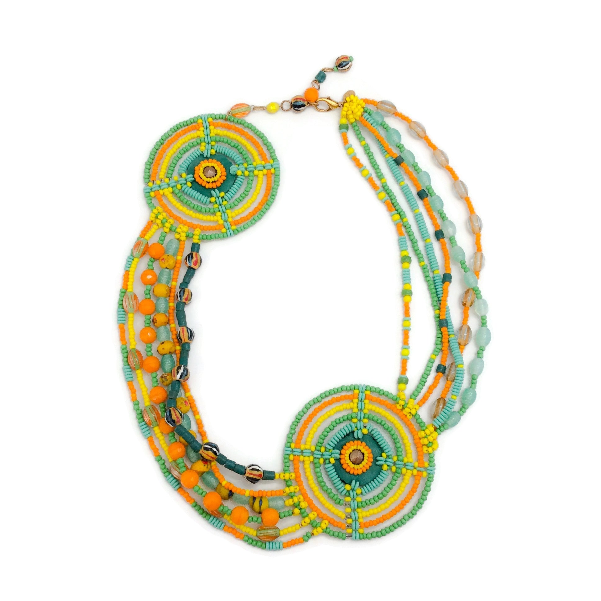 Erickson Beamon Yellow / Green / Orange Beaded Circle Necklace