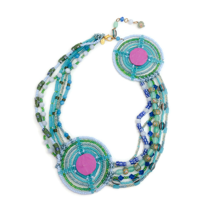 Erickson Beamon Turquoise / Purple Beaded Circle Necklace