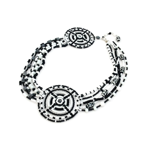 Erickson Beamon Black / White Beaded Circle Necklace