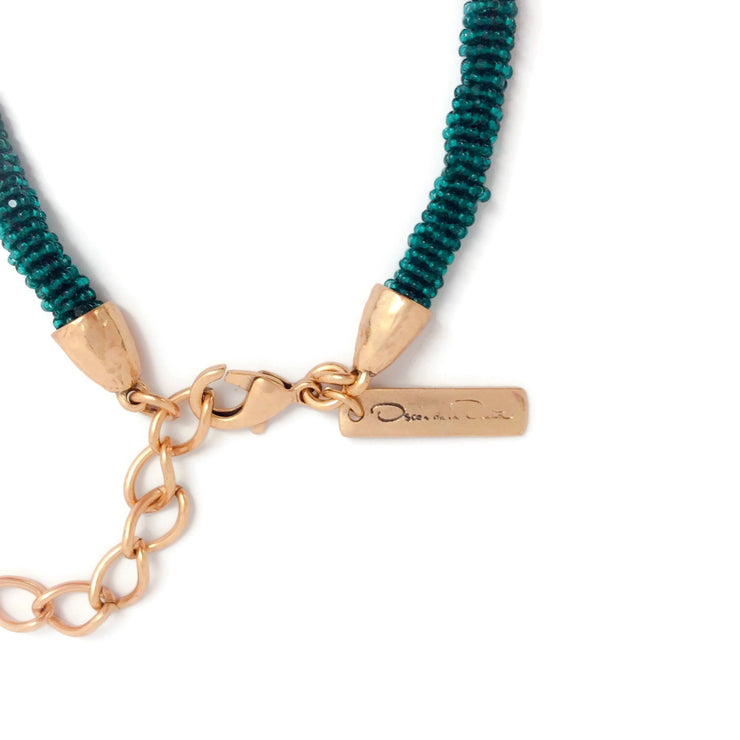 Oscar de la Renta Teal Tassel Necklace