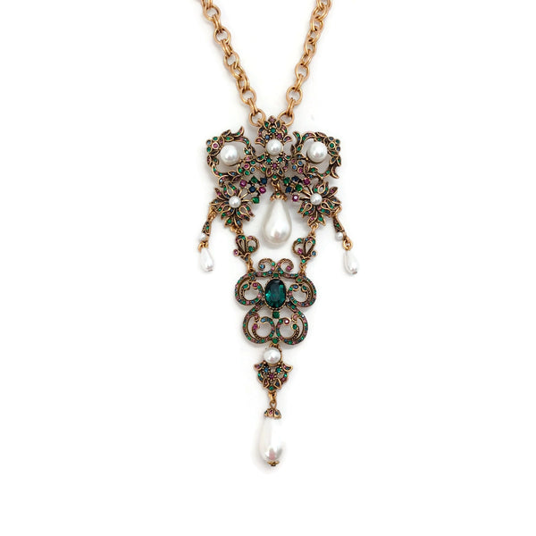 Oscar de la Renta Baroque Brooch Pendant Necklace