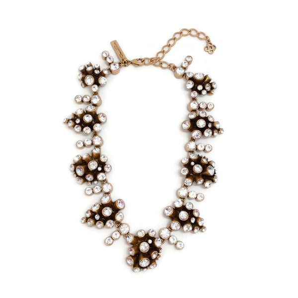 Oscar de la Renta Gold Crystal Cluster Necklace