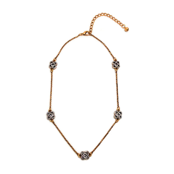 Oscar de la Renta Gold / Crystal Quatrefoil Necklace
