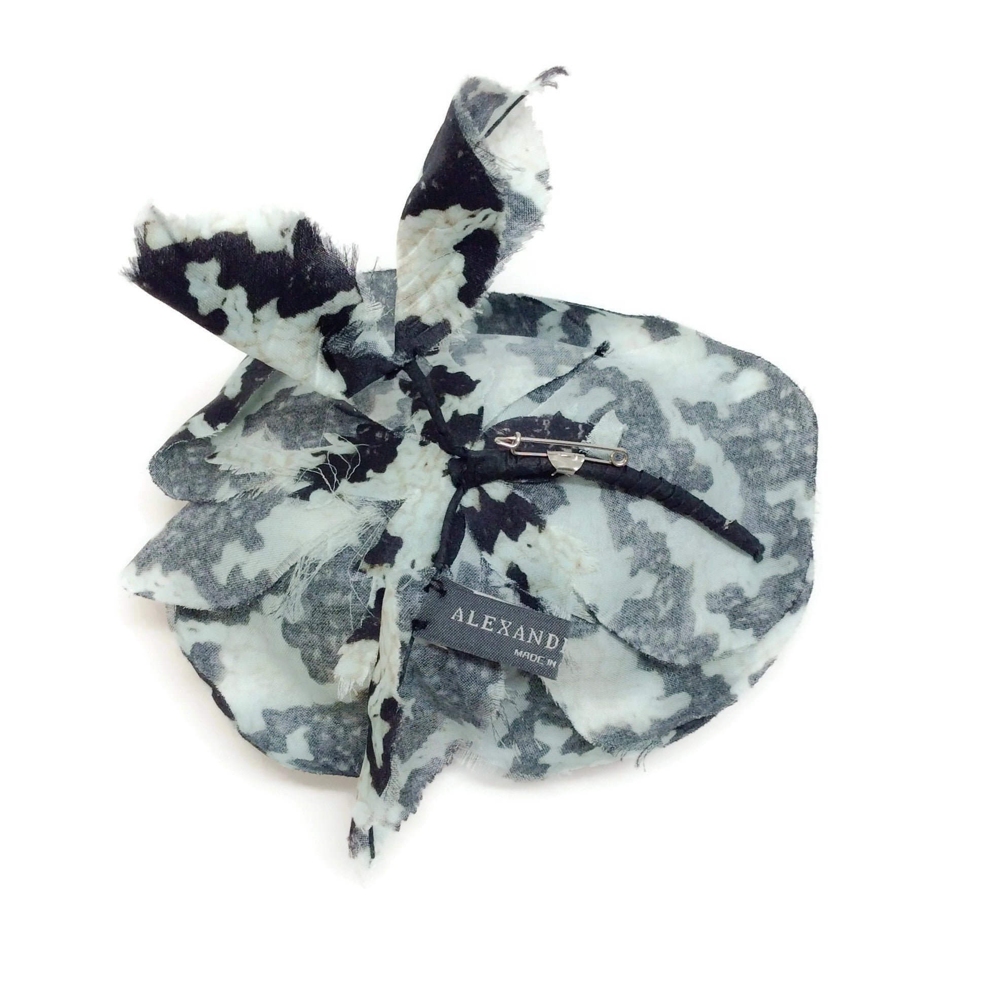 Alexander McQueen Teal / Black Silk Flower Brooch