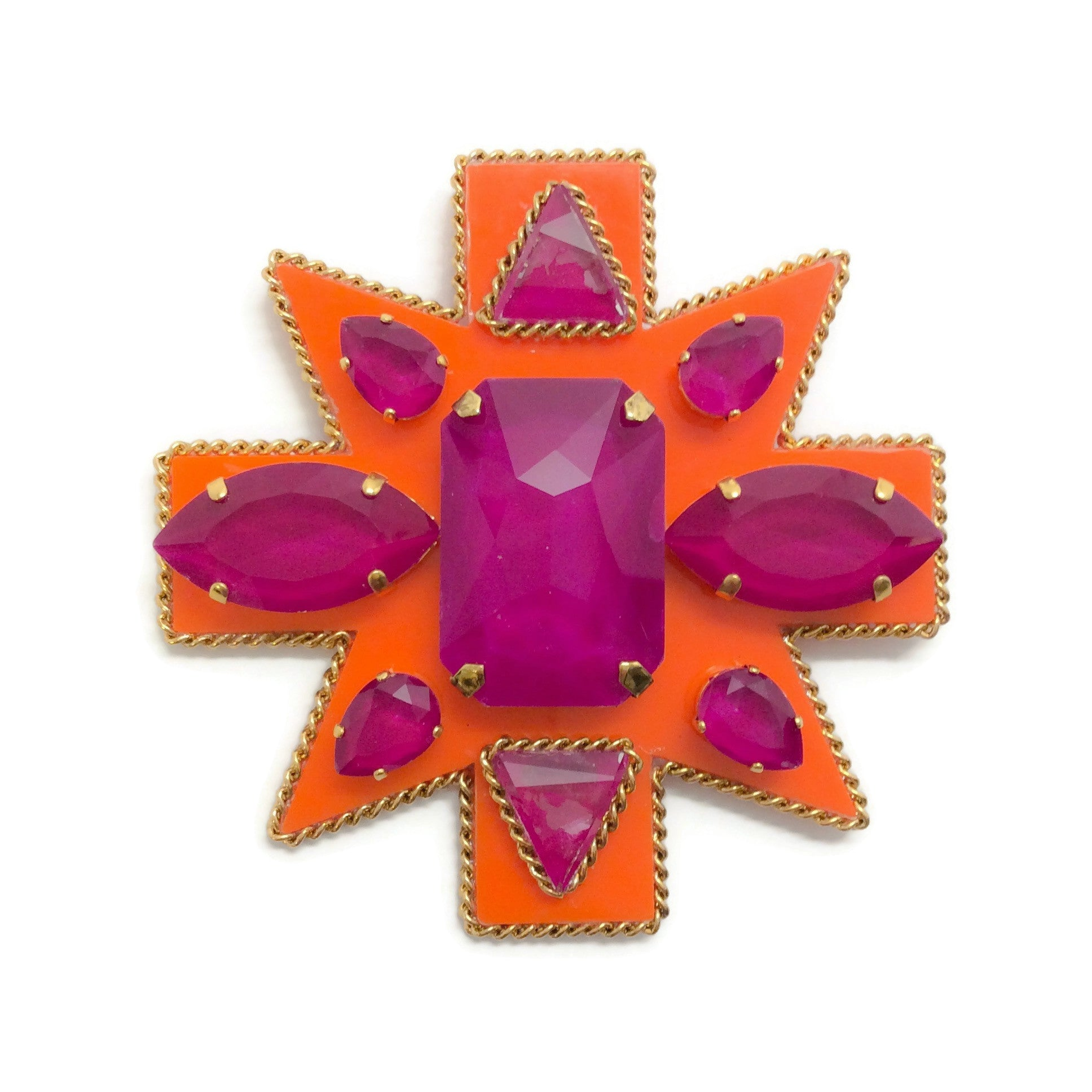 Erickson Beamon Orange / Purple Girls On Film Brooch