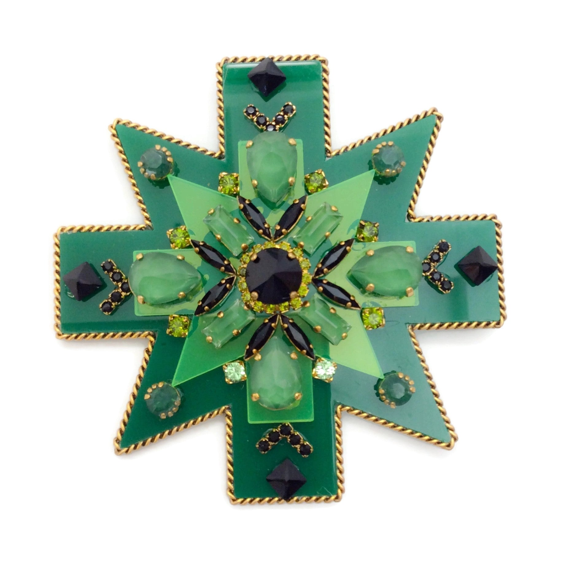 Erickson Beamon Green / Gold Girls On Film Brooch