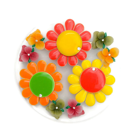 Erickson Beamon Red / Yellow / Multi Round Enamel Flower Brooch