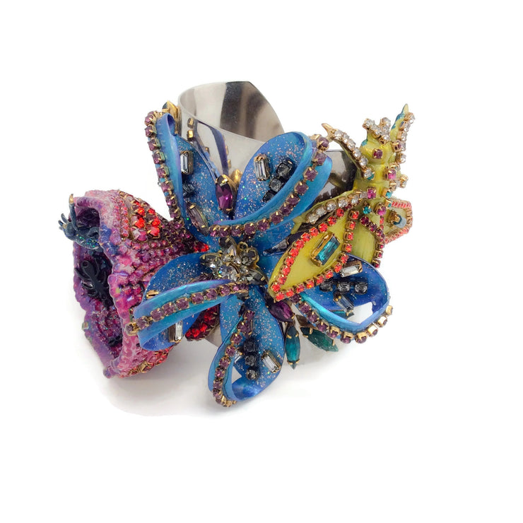 Erickson Beamon Purple / Blue / Multi Flower and Insect Bracelet