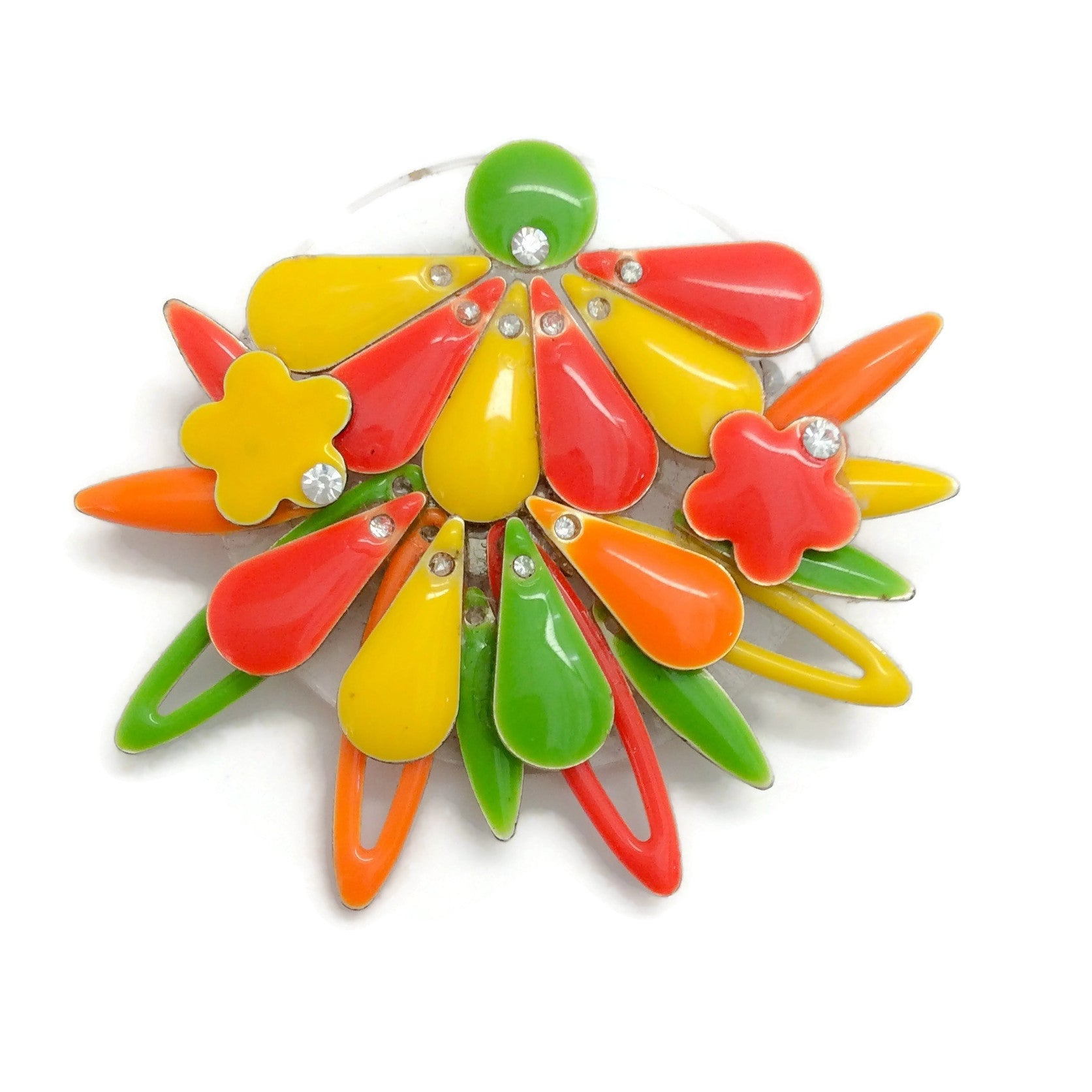 Erickson Beamon Red / Yellow / Multi Enamel Flower Brooch