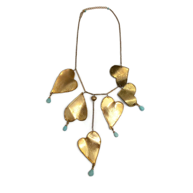 Randy Feder Gold / Turquoise Dangling Hearts Necklace