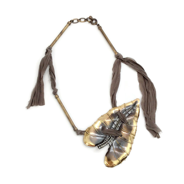 Lanvin Gold / Brown Large Leaf Necklace