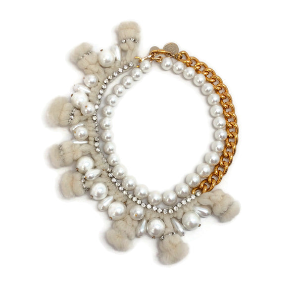 Mauviel Ivory / Gold Pearl and Pom Pom Necklace