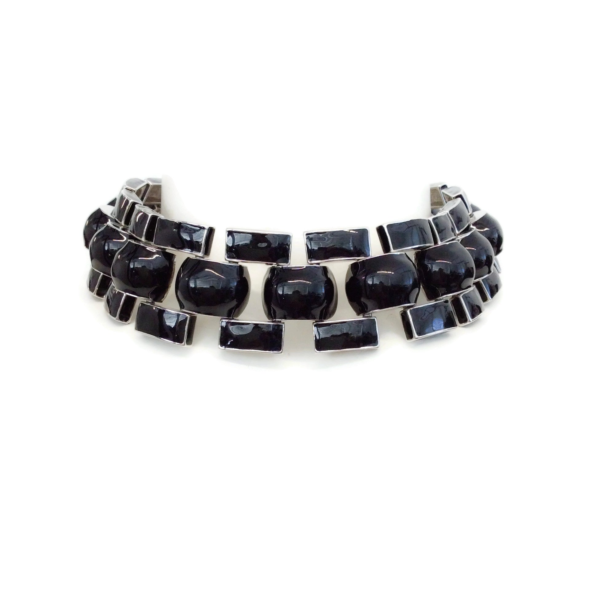 J.W.Anderson Black / Silver Chunky Enamel Link Necklace