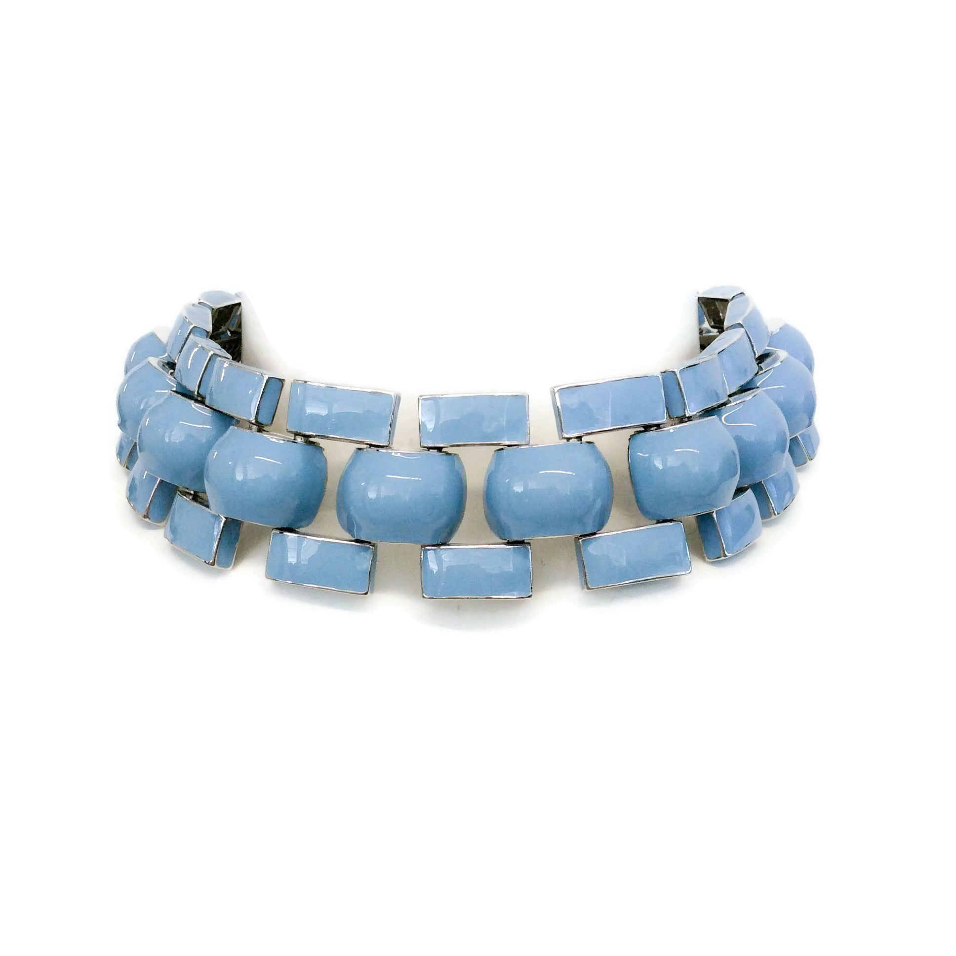 J.W.Anderson Blue / Silver Chunky Enamel Link Necklace