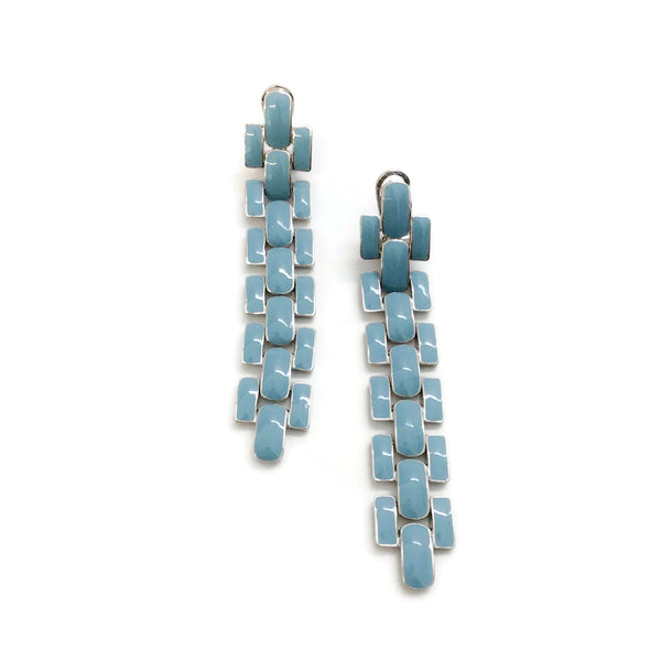 J.W.Anderson Blue / Silver Chunky Enamel Link Earrings