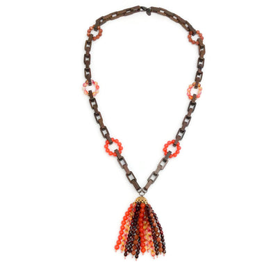 Erickson Beamon Brown / Orange Wood Link Beaded Tassel Necklace