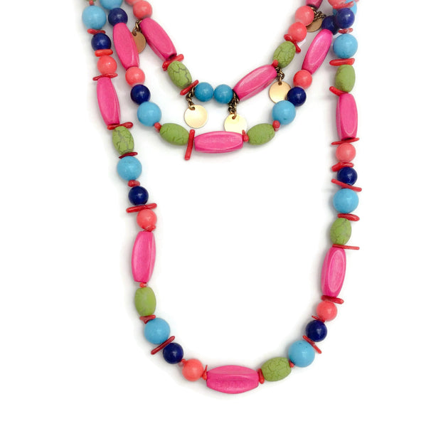 Erickson Beamon Blue / Green / Pink Multi Beaded Choker Drop Necklace